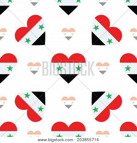 Syrian Arab Republic Flag Patriotic Seamless Pattern. National Flag In The Shape Of Heart. Vector Il