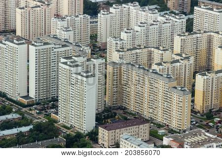 high-rise building dwelling houses bird's eye view