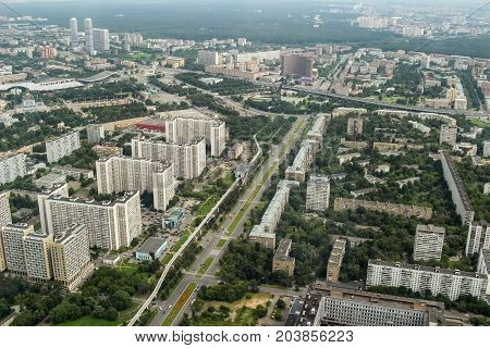 Moscow Monorail Museum of cosmonautics houses. View from the Ostankino television tower bird's eye view.
