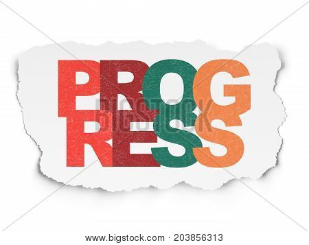 Business concept: Painted multicolor text Progress on Torn Paper background