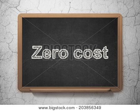 Business concept: text Zero cost on Black chalkboard on grunge wall background, 3D rendering