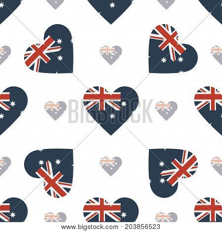 Australia Flag Patriotic Seamless Pattern. National Flag In The Shape Of Heart. Vector Illustration.