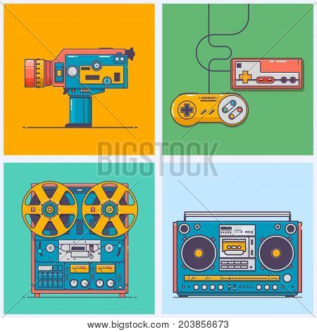 Retro gadgets from 90s in line style. Vintage game console camcorder tape playerboombox. Game and media tech things. Trendy vector web icon set.