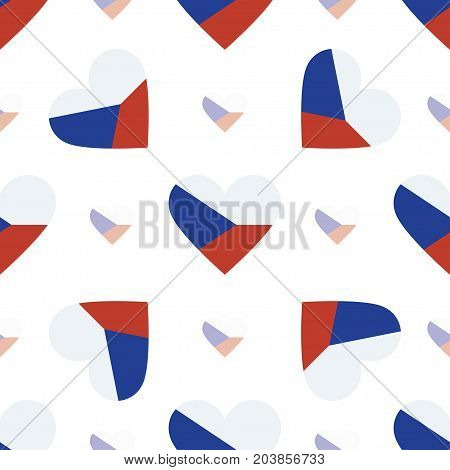 Czech Republic Flag Heart Seamless Pattern. Patriotic Czech Republic Flag Background. Country Flag I