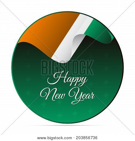 Happy New Year banner or sticker. Ivory Coast waving flag. Snowflakes background. Vector illustration.