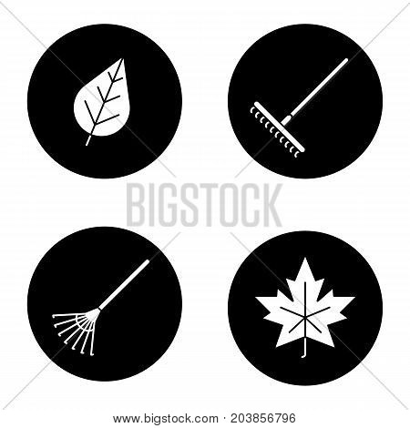 Autumn glyph icons set. Rakes, leaves. Vector white silhouettes illustrations in black circles