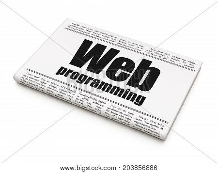 Web design concept: newspaper headline Web Programming on White background, 3D rendering
