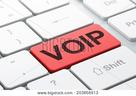 Web design concept: computer keyboard with word VOIP, selected focus on enter button background, 3D rendering