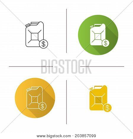 Petrol trade icon. Flat design, linear and glyph color styles. Petroleum jerrycan with dollar sign. Isolated vector illustrations