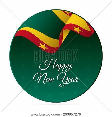Happy New Year banner or sticker. Grenada waving flag. Snowflakes background. Vector illustration.