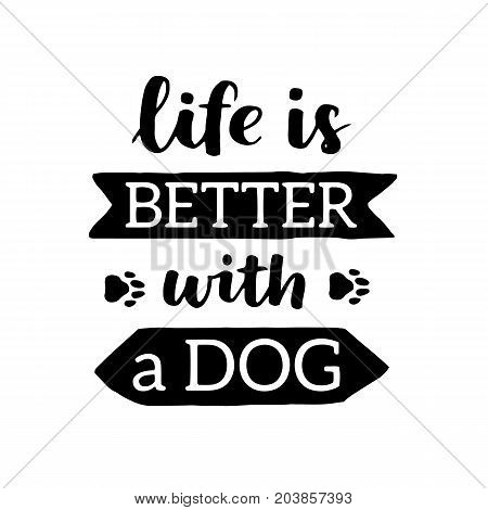 Vector Lettering With Saying About Dog Adoption. Don't Shop, Adopt. Modern Calligraphy Phrases On Is