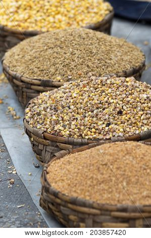 grains in baskets in Otavalo farmers market