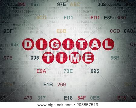 Timeline concept: Painted red text Digital Time on Digital Data Paper background with Hexadecimal Code