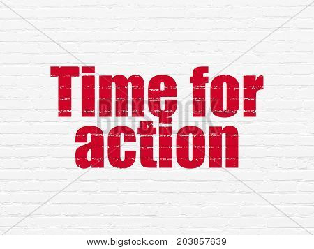 Time concept: Painted red text Time for Action on White Brick wall background