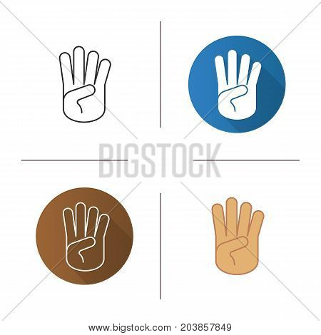 Four fingers hand gesture icon. Flat design, linear and color styles. Isolated vector illustrations