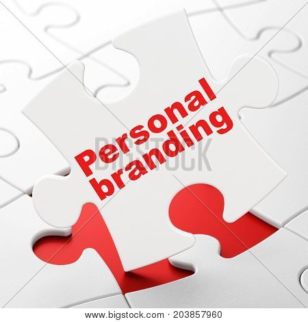 Marketing concept: Personal Branding on White puzzle pieces background, 3D rendering