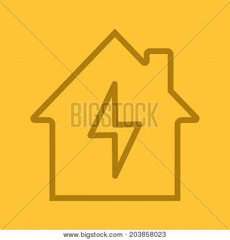 Home electrification linear icon. Electric utilities. House with lightning bolt inside. Thin line outline symbols on color background. Vector illustration