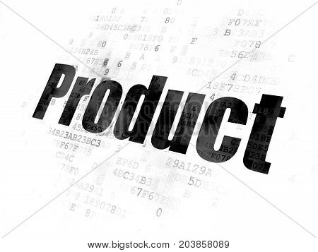 Marketing concept: Pixelated black text Product on Digital background