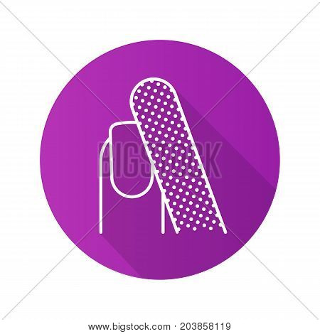 Nail filing flat linear long shadow icon. Woman's nail with file. Vector outline symbol