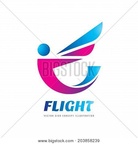Flight - vector logo template concept illustration. Abstract human character creative sign. Flight person with wing. Design element.