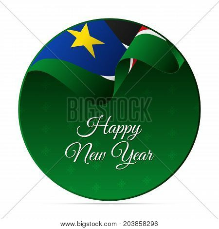 Happy New Year banner or sticker. South Sudan waving flag. Snowflakes background. Vector illustration.