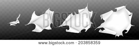 Realistic paper torn. Hole in sheet of paper. Vector illustration.