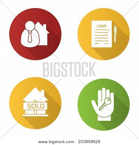 Real estate flat design long shadow glyph icons set. Broker, hand with key, sold house, loan agreement. Vector silhouette illustration