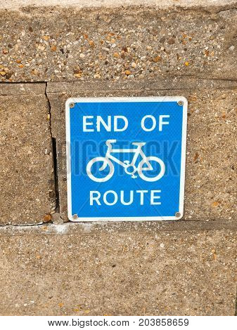 End Of Route Blue Cycling Sign With Bicycle Symbol