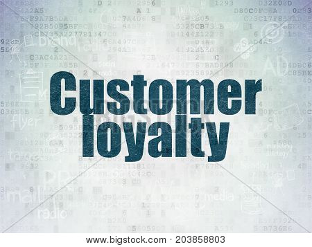Advertising concept: Painted blue text Customer Loyalty on Digital Data Paper background with  Scheme Of Hand Drawn Marketing Icons