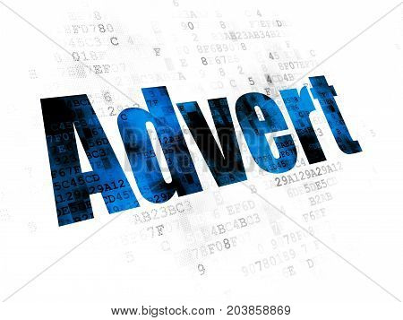 Marketing concept: Pixelated blue text Advert on Digital background