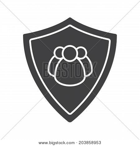 Users protection glyph icon. Silhouette symbol. Collective security. Protection shield with group of people. Negative space. Vector isolated illustration