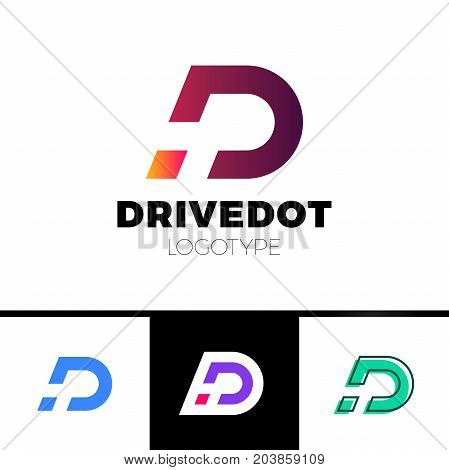 Dynamic Letter D Logo In Negative Space Icon Design Template Elements With Dot Or Point