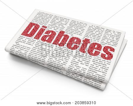 Medicine concept: Pixelated red text Diabetes on Newspaper background, 3D rendering