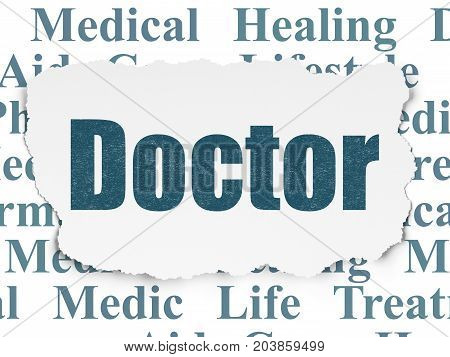 Healthcare concept: Painted blue text Doctor on Torn Paper background with  Tag Cloud