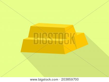 a gold golden bar stack with flat style and long shadow background vector