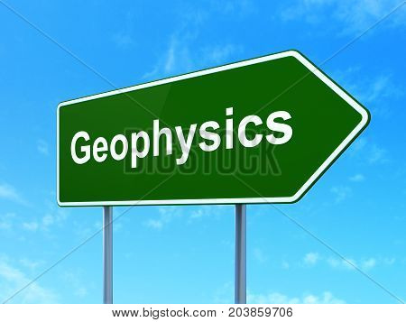 Science concept: Geophysics on green road highway sign, clear blue sky background, 3D rendering