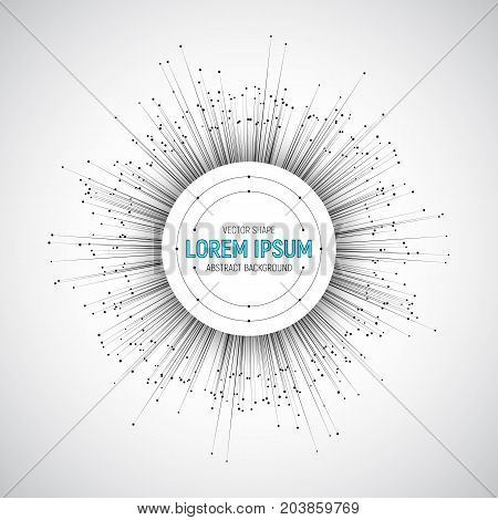 Technology Round 3D Vector White Banner. Tech Bright Background. Radial Composition Abstract Art Illustration