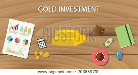 gold investment with gold bar with graph paper work and wooden table as background vector