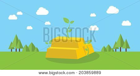 gold business growth investment with growing plant and mountain green as background vector