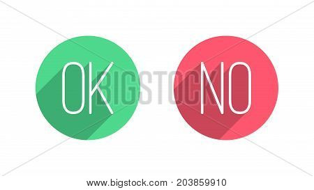 OK and NO Vector Flat Buttons on White Background. Design Elements for SMM, CEO, APP, UI, UX, Marketing, Business, Advertisement, Digital Network
