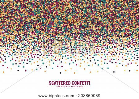Vector Scattered Colorful Motley Confetti 3D Illustration in Abstract Shape Isolated on White Background. Varicolored Slapstick Paper Round Particles. Graphic Design Template