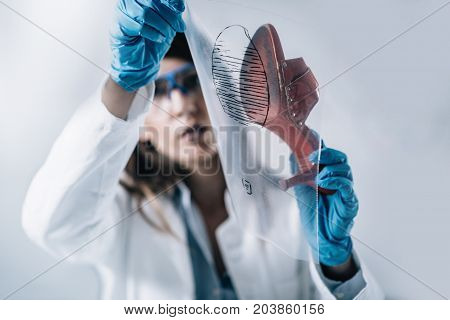 Forensic Science. Female Forensic Scientist Examining Samples In The Lab