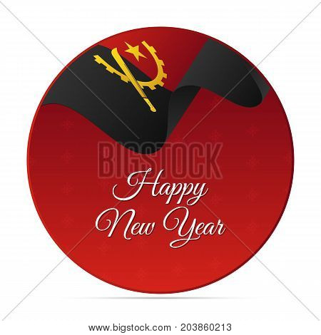 Happy New Year banner or sticker. Angola waving flag. Snowflakes background. Vector illustration.