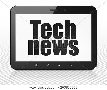 News concept: Tablet Pc Computer with black text Tech News on display, 3D rendering