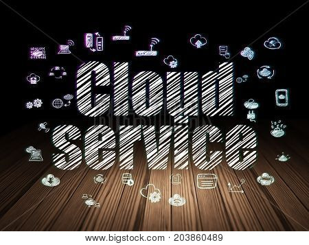 Cloud computing concept: Glowing text Cloud Service,  Hand Drawn Cloud Technology Icons in grunge dark room with Wooden Floor, black background