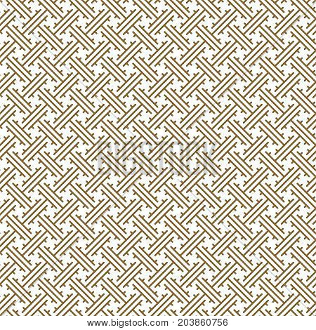 Oriental geometric traditional seamless vector pattern. Eastern cultures gold and white lines tileable fabric basic texture.