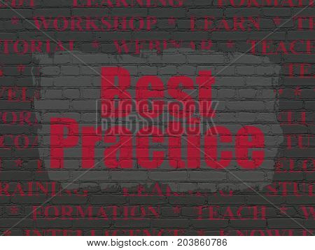 Studying concept: Painted red text Best Practice on Black Brick wall background with  Tag Cloud