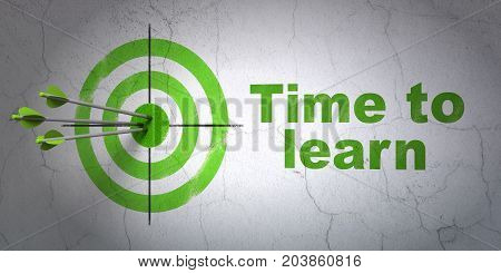 Success Studying concept: arrows hitting the center of target, Green Time to Learn on wall background, 3D rendering