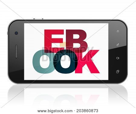 Studying concept: Smartphone with Painted multicolor text E-Book on display, 3D rendering