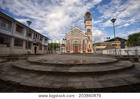 June 1 2017 Archidona Ecuador: church in the centre of the small town in the Amazon area which was an important center for missionaries in the colonial times